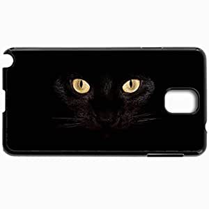 Customized Cellphone Case Back Cover For Samsung Galaxy Note 3, Protective Hardshell Case Personalized Black Cat Backgrounds Black