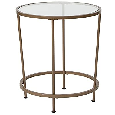 Flash Furniture Astoria Collection Glass End Table with Matte Gold Frame - Contemporary Style Clear Tempered Glass Surface 6mm Thick Glass - living-room-furniture, living-room, end-tables - 41i6CwHHDBL. SS400  -