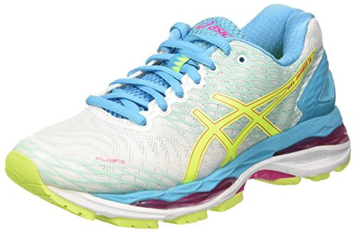 Asics Women's W's Gel-Nimbus 18 Gymnastics Shoes, Blue Bianco (White/Safety Yellow/Aquarium)