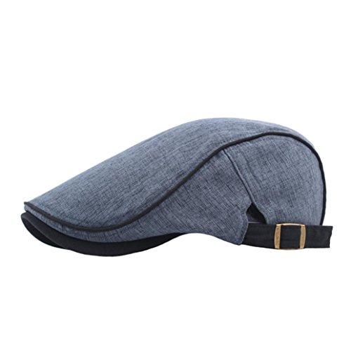- Transer Men Summer Twill Cotton Beret Ivy Hat Cabbie Flat Cap Newsboy Cabby Hats Hunting Caps (Navy)