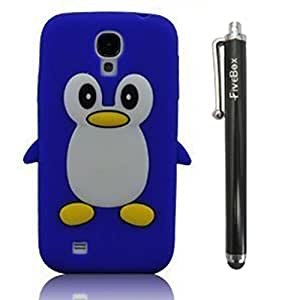 FiveBox 3d Penguin Soft Silicone Rubber Skin Case Cover for Samsung Galaxy S4 Iv I9500 (Blue)