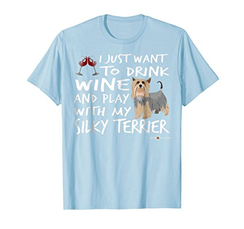 Mens Wine and my Silky Terrier   Funny Silky Terrier gift 2XL Baby Blue