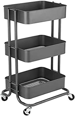 EBTOOLS Rack de Almacenamiento Desplazable de 3 Niveles, Carretilla de Carro Carretilla de Rueda Rodante Estantería de Productos Básicos en la Cocina Baño Oficina Sala: Amazon.es: Hogar