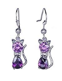 Bigood Charms 925 Sterling Silver Plated Cat Shape Amethyst Earrings Purple