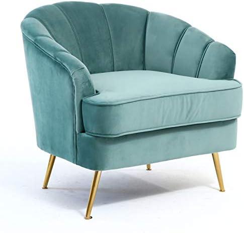 WamieHomy Modern Velvet Armchair in Turquoise