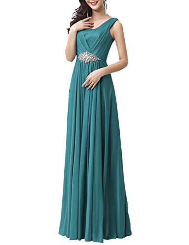Grecian Style Evening Gowns (LETSQK Women's Sleeveless Floor Length Grecian Style Evening Prom Dress Blue)
