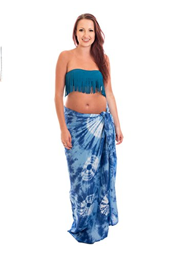 50 Modelo Sarong Pareo Playa falda cruzada la bufanda toalla opacp TYE DYE Dunkel Blau Batik BDP
