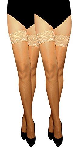 Marilyn transparente, con autosujeción 8 cm dimetiladas-cinta adhesiva-punta, 15 Denier Beige - je 2x visone