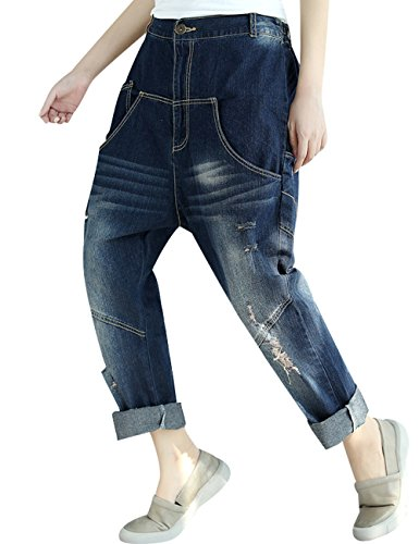 elastique t Femmes Taille Style en jeans jean 3 Printemps Sarouel Youlee Pantalons I7wZx7