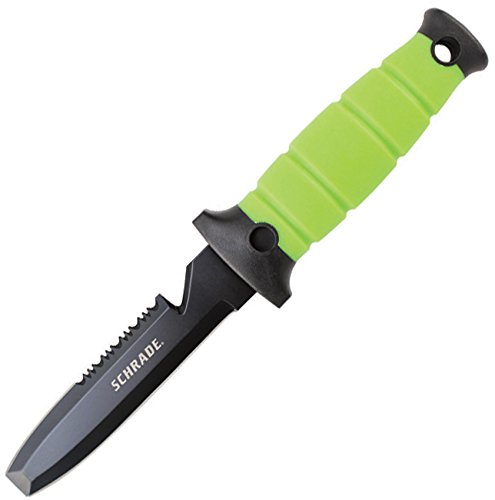 Schrade WR3 Water Rat Dive Knife Partially Serrated Blunt Tip Fixed Blade Phosphorescence TPR Handle