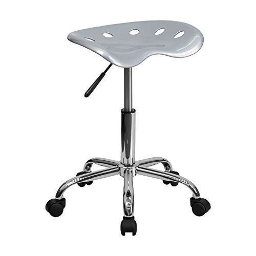Offex Vibrant Tractor Seat Stool, Silver
