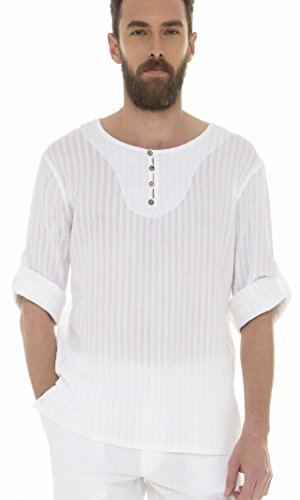 White by Nature Men's Long Sleeves Crew Neck with Button, used for sale  Delivered anywhere in USA