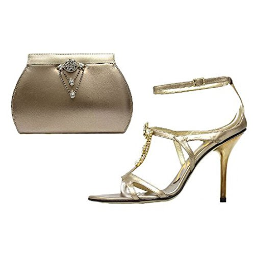 FARFALLA Gorgeous Crystal Sandals and Matching Bag Set, Gold
