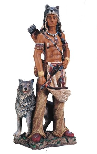 17.5'' Inch Indian Warrior Indio Wolf North Native American Statue Figure Figurine by GC