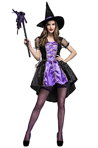 Duraplast Women's Hallowen Costume Wicked Witch Dress and Caps Set - Sexy Hallowen Costumes