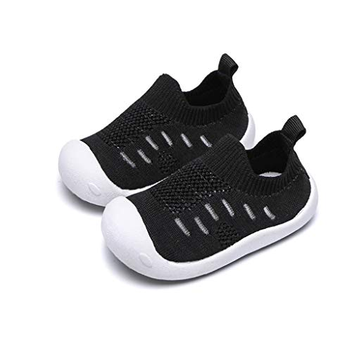 Haalife◕‿¿Kid's Casual Knit Shoes Athletic Walking Shoes Lightweight Mesh-Comfortable Slip on Sneakers Black