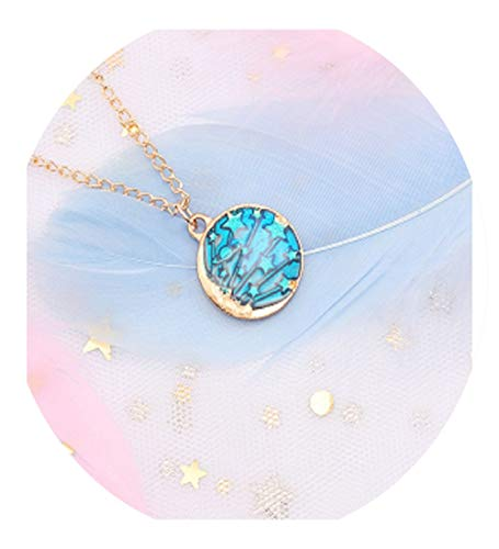 xiao S Cartoon Star Moon Necklace Gold Dipped Pendant Beautiful and Simple Geometric Universe Starry Alloy Small Jewelry (Small Case For Small Items Crossword Clue)