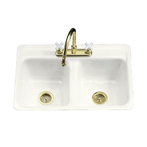 KOHLER K-5950-4-0 Delafield Tile-In and Metal Frame Kitchen Sink, ()