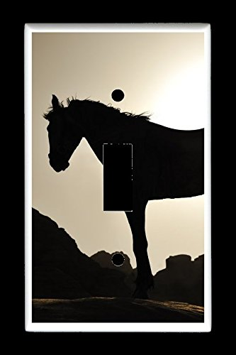 Silhouette Plate (Single Toggle (1-toggle) Light Switch Plate Cover - Horses - Beautiful Silhouette of Horse in the Sunset)