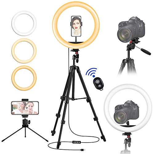 12 Inch Ring Light with Stand and Phone Holder, Circle Light with Camera Tripod & Remote Controller, Portable Desktop Ringlight for iPhone, YouTube, TIK Tok, Makeup, Zoom Meeting, Video Shooting