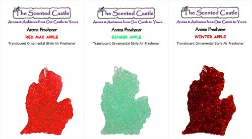 (The Scented Castle 3 Pack Michigan Car Air Fresheners - Red Mac Apple, Ginger Apple, Winter Apple)