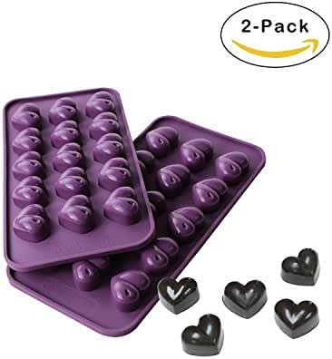 Webake 2-pack Silicone Chocolate Mold, Candy Molds (Heart 15-cavity)