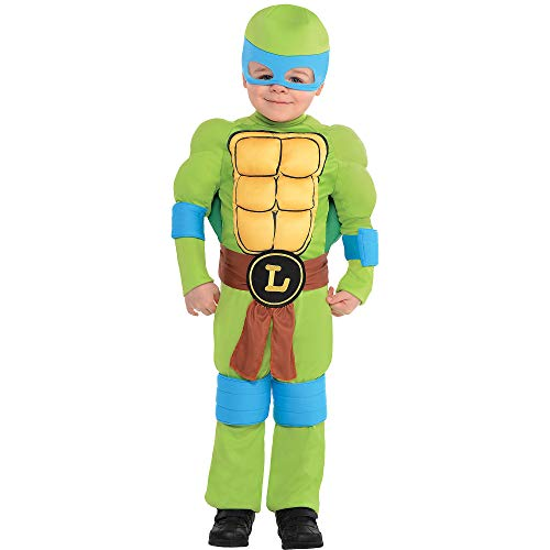 Amscan Teenage Mutant Ninja Turtles Leonardo Muscle Halloween Costume for Toddler Boys, 3-4T, with Included Accessories -