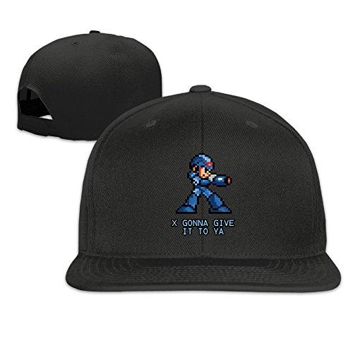 [Unisex I Gonna Give It To Ya Megaman Snapback Fit Flat Peak Hat Cap Black] (Megaman Hat)