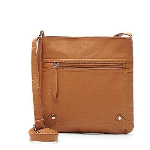 Body Shoulder Pu Women's 25cm Satchel Cross Brown Light Handbag Leather Tongshi Messenger Bag 23 x0qwUtCn8