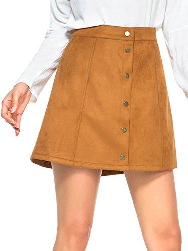 Choies Women's Khaki Casual Velevt Button Closure A-line Mini Skirt (Khaki Cotton Mini Skirt)
