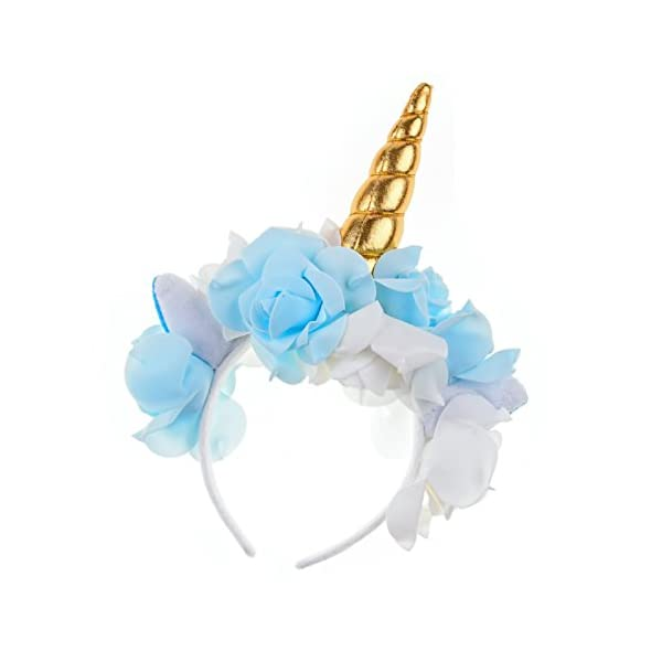 Love Sweety Unicorn Headband Rose Flower Ear Unicorn Cosplay Party Headwear 3