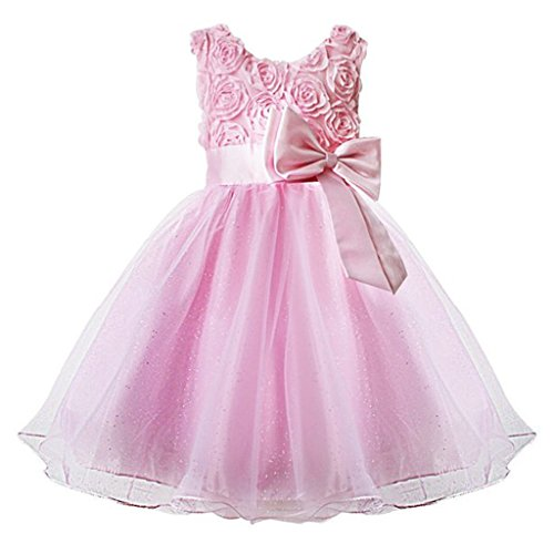 Kids Showtime Kids Girl Infant Newborn Baby Flower Party Wedding Gown Bridesmaid Dress(Pink,0-6M)