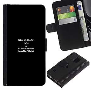 EJOY---Tirón de la caja Cartera de cuero con ranuras para tarjetas / Samsung Galaxy S5 V SM-G900 / --Retroceda Ciencia divertida