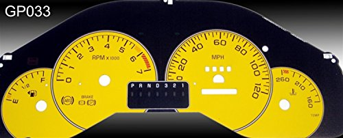 US Speedo GP033 - Daytona Edition Gauge Faces - Yellow / Red Night - 120 MPH - for: Pontiac Grand Prix Se, Gt, Gtp