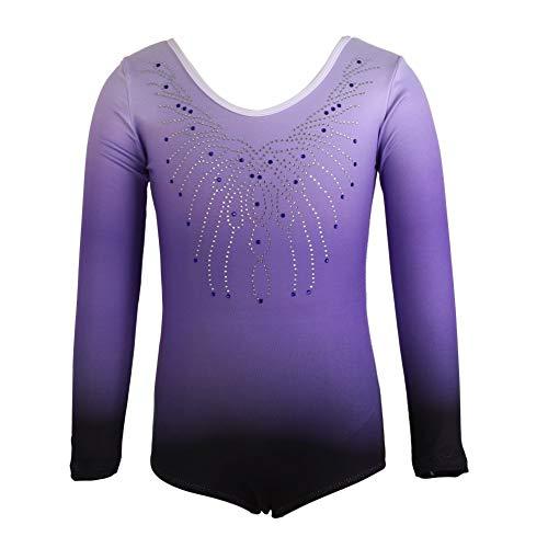 MiyaSudy Girls Ballet Dance Leotard Dresses 5-12 Years Kids Leotard Long-Sleeved Diamond Ballet Gymnastics Exercise Dance Clothes