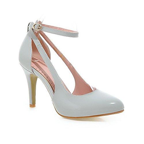 Amoonyfashion Damesschoenen Zacht Materiaal Spikes Stilettos Gesp Puntig Gesloten Teen Pumps-schoenen Grijs