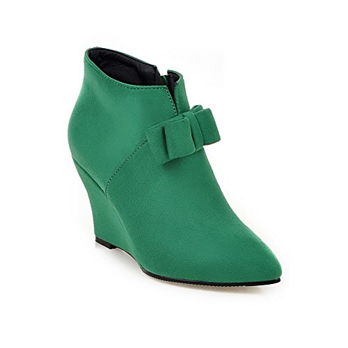 A&N Ladies Winkle Pinker Spun Gold Bowknot Color Matching Thick Bottom Heel Imitated Suede Boots Green ZeesZ