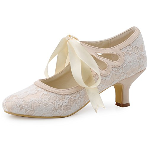 (ElegantPark HC1521 Women's Mary Jane Cut Out Closed Toe Low Heel Pumps Lace Wedding Dress Shoes Champagne US 11)