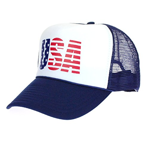 (American Flag Patriotic USA Logo Classic 5 Panel Mesh Snap Back Trucker Hat Navy)
