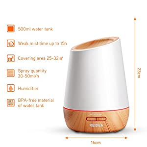 REIDEA 500ml Aromatherapy Essential Oil Diffuser Humidifier with 7 Color Breathing LED Lights, Cool Mist Humidifier with Adjustable Mist for Baby Infant Student Home Office Bedroom Yoga