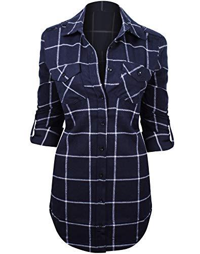 e91389efa0 Women s Long Sleeve Button Down Plaid Flannel Belted Tunic Shirt Dress