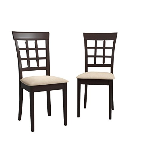 Coaster Home Furnishings Gabriel Modern Window Back Side Chair ( Set of 2 ) - Cappuccino / Tan Microfiber