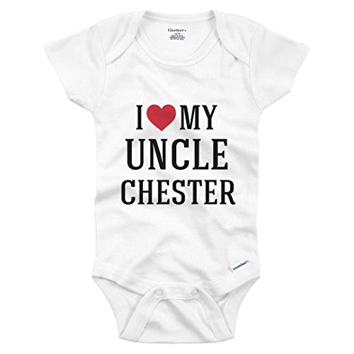 I Heart My Uncle Chester: Infant Gerber Onesie White