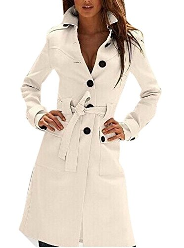 Tengfu Women's Winter Single Breasted Slim Fit Wool Long Trench Coat with Belt