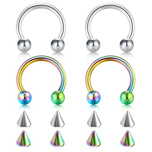 (D.Bella 20G Surgical Steel Nose Septum Horseshoe Hoop Eyebrow Lip Navel Belly Nipple Piercing Ring 10mm Helix Tragus Daith Rook Earrings w Replacement Spikes)