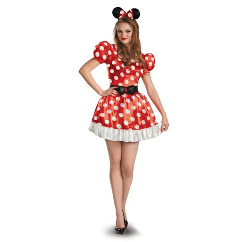 Disguise Women's Red Minnie Mouse Classic Costume, Red/Black/White, Small