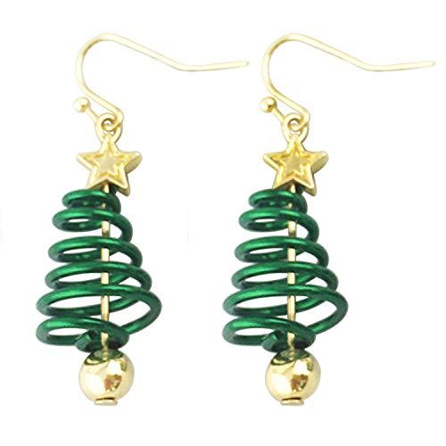 JLJ Christmas Dangle Hook Earrings Small Cute Christmas Tree Jewelry for Women Girls