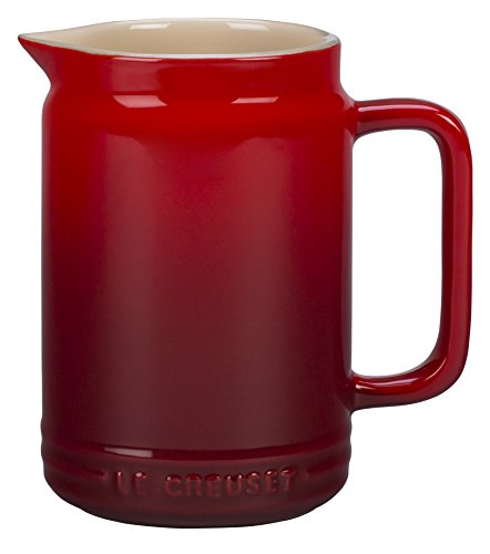 Le Creuset of America Stoneware Sauce Jar, 20 oz, Cerise (Cherry Red) ()