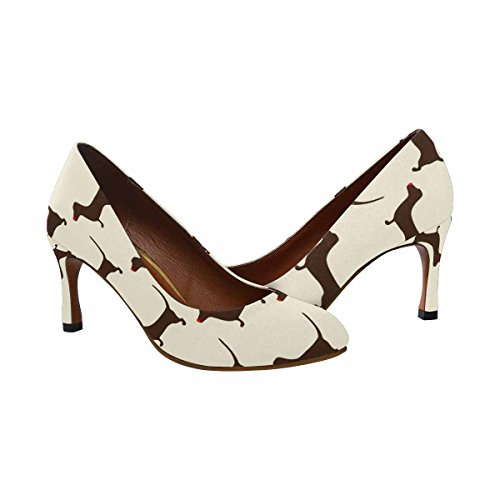 Cute Dress Fashion Heel Womens InterestPrint High With Dachshund Christmas Dachshund Brown Pump Pattern Classic Repeating wqxCR7