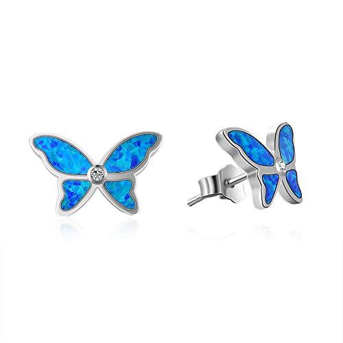 - Fancime 925 Sterling Silver Butterfly Stud Earrings Blue Created Opal Elegant Jewelry For Women Girls